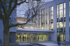 Projects Cultural University of Portsmouth Library Exterior Entrance Night Penoyre and Prasad