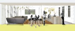 Projects Workplace IIED Offices cafe sketch Penoyre and Prasad