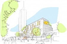 Projects Workplace Tower Hamlets Civic HQ Street View Drawing Penoyre and Prasad