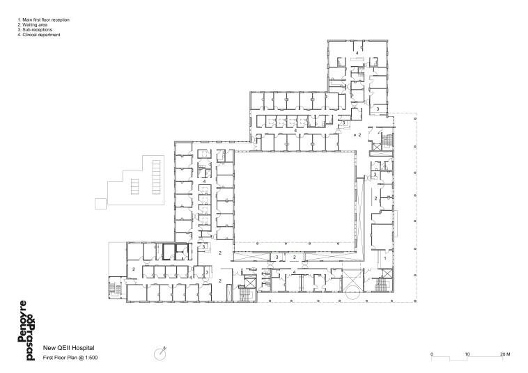 Projects Health QEII Hospital 1st floor plan Penoyre and Prasad