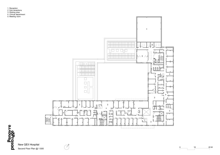 Projects Health QEII Hospital 2nd floor plan Penoyre and Prasad