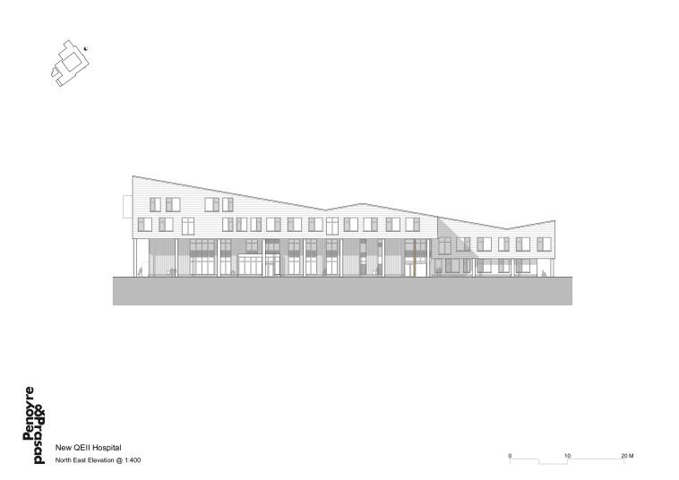 Projects Health QEII Hospital north east elevation Penoyre and Prasad