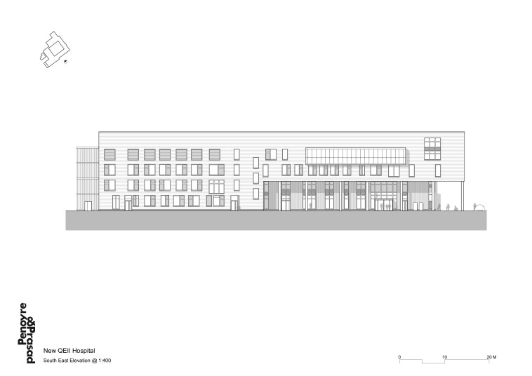 Projects Health QEII Hospital south east elevation Penoyre and Prasad