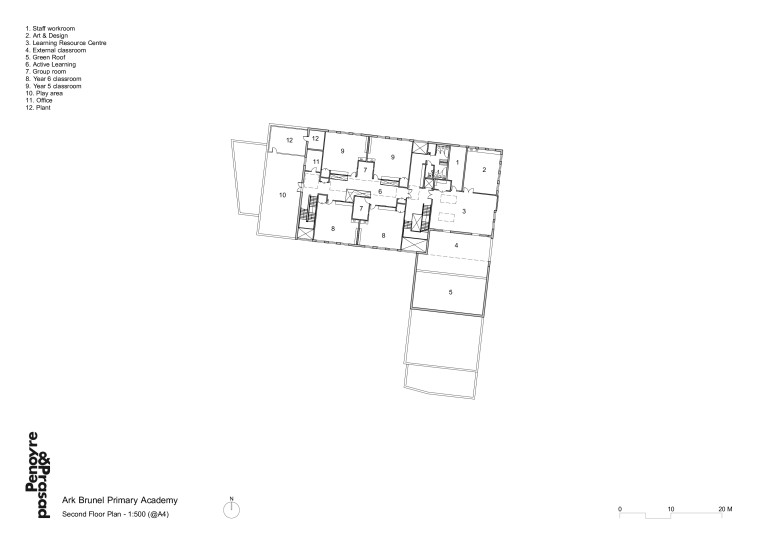 Projects Schools Ark Brunel Primary Academy second floor plan Penoyre and Prasad