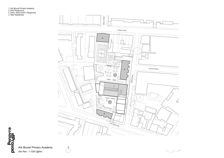 Projects Schools Ark Brunel Primary Academy site plan Penoyre and Prasad