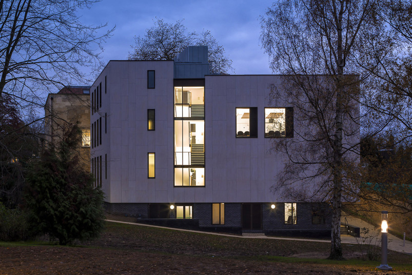 Projects Cultural Ruskin College Exterior night view Penoyre and Prasad
