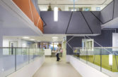 New QEII Hospital first floor reception above main entrance Health Penoyre & Prasad
